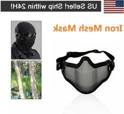 Adjustable Metal Steel Mesh Half Face Mask Protective Airsof