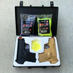 Airsoft Gun Pistols Spring Black n Gold Combo Set w/ Plastic
