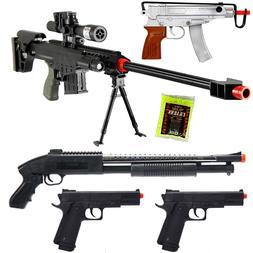 NEW Lot of 5 Airsoft Guns Sniper Rifle Shotgun Machine Pisto