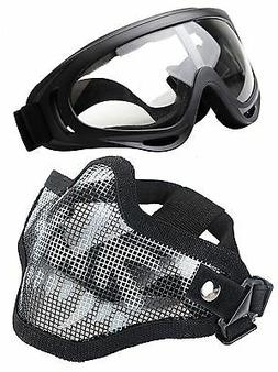 OUTGEEK Airsoft Half Face Mask Steel Mesh and Goggles Set Sk