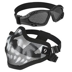 Accmor Airsoft Half Mask, Skull Steel Mesh and Goggles Set f