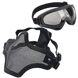 LAOSGE Airsoft mask,Mesh Half Face Full Black Set with Goggl