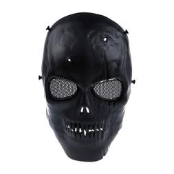 Airsoft Mask Skull Full Protective Mask Military - Black ED