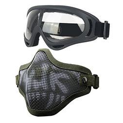 Infityle Airsoft Masks- Adjustable Half Metal Steel Mesh Fac