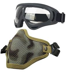 Airsoft Masks- Adjustable Half Metal Steel Mesh Face Mask An