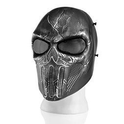 Flexzion Airsoft Paintball Mask Full Face Skull Skeleton Met