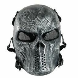 Silver Airsoft Paintball Tactical Full Face Mask Combat Skul