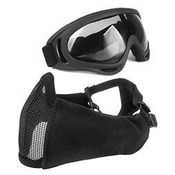 Black Airsoft Tactical military mask CS War Game half mesh M