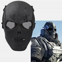 Black Skull Skeleton Full Face Mask Tactical Paintball Airso