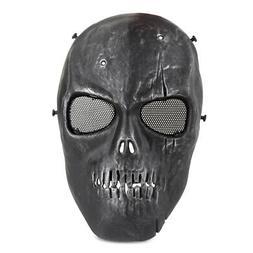 Black Skull Skeleton Full Face Mask Tactical Airsoft Paintba