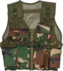 Modern Warrior Junior Black Camo Tactical Vest Fits 50-125-P