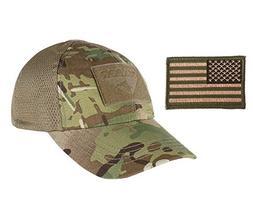 Condor Multicam Mesh Tactical Cap & USA Flag Patch Stitching