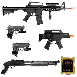 D.O.A. Lot of 5 Airsoft Guns M16 Rifle Shotgun Machine Pisto