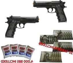 Dual Airsoft SPRING Pistols M9 92 6mm Beretta FULL SIZE w/ B
