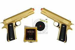 Dual Gold Pistols 007 - COLT 1911 METAL Airsoft Spring Actio