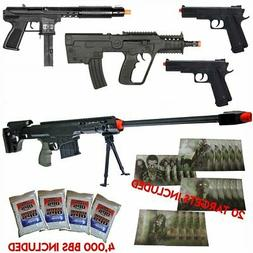 *EPIC* NEW Lot of 5 Airsoft Guns Sniper Rifle Pistols & 4000