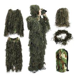 Ghillie Suit,OUTERDO Camo Suit Woodland and Forest Design Mi