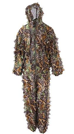 Annay Ghillie Suit, Camo Suit 3D Leaves Woodland Camouflage
