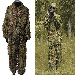 OUTERDO Camo Suits Ghillie Suits 3D Leaves Woodland Camoufla