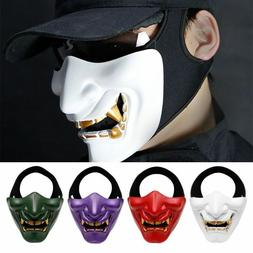 Half Face Tactical Airsoft Mask Evil Demon Monster Kabuki Ha