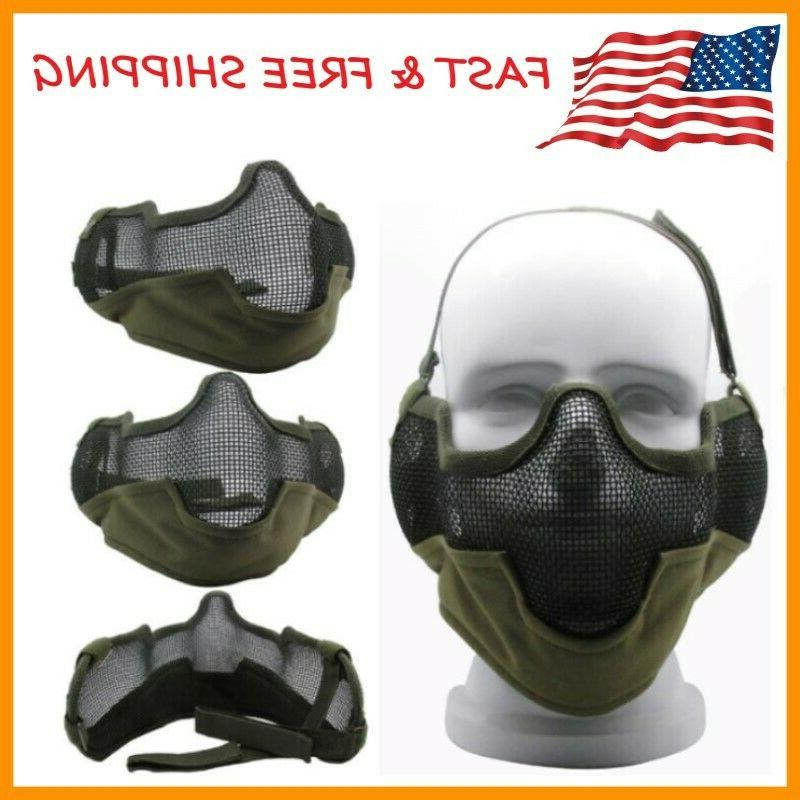 3g airsoft face mask sports steel mesh