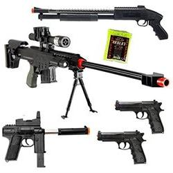 Dark Ops Airsoft Lot of 5 Airsoft Guns Sniper Rifle Shotgun