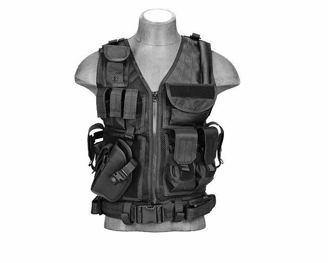 airsoft hunting cross draw tactical vest w