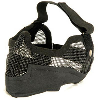 NEW AIRSOFT PAINTBALL TACTICAL METAL MESH HALF MASK w/ EAR P
