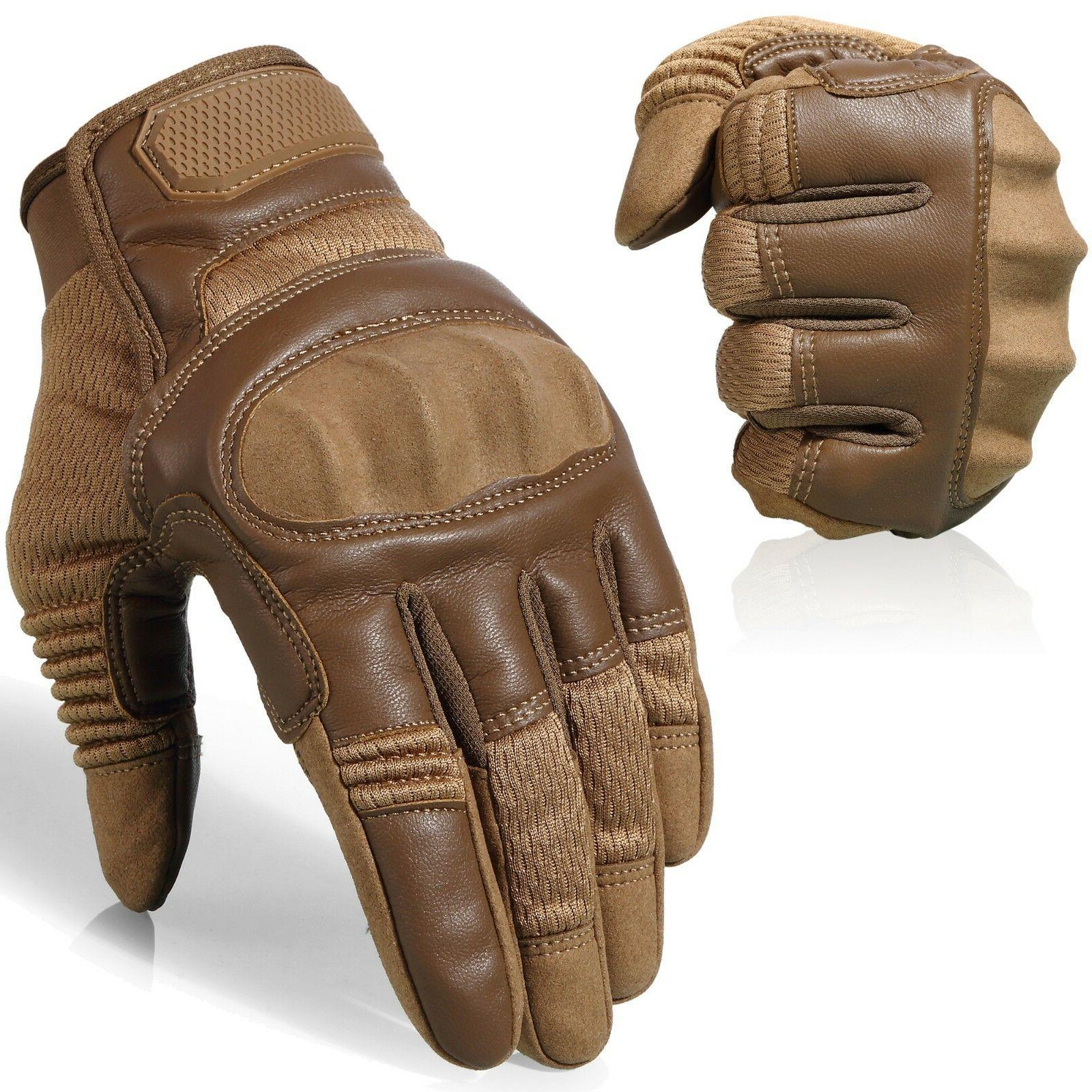 Leather Assault Full Finger Tactical Gloves Hunting Airsoft