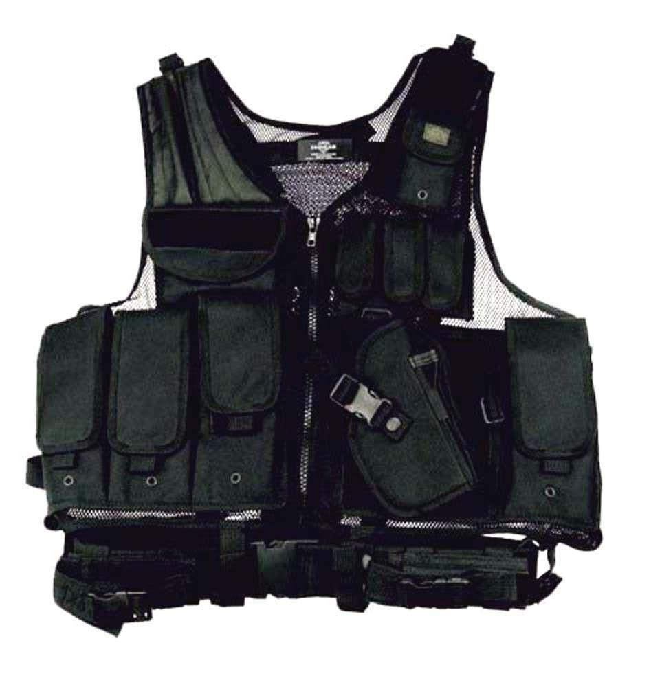 DELUXE Tactical VEST BLACK LEFT Handed Swat Paintball Airsof