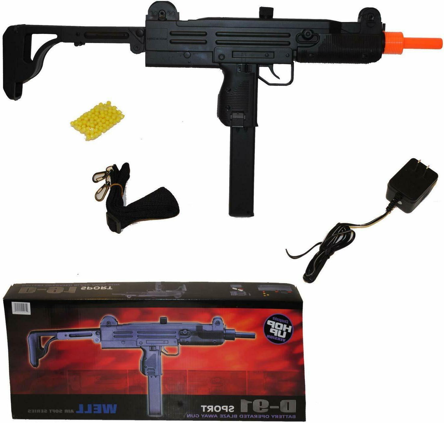 Well d95b Full Auto airsoft Gun with drum magazine, collapsi
