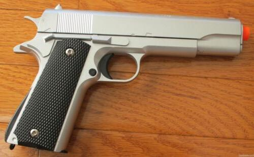NEW M1911 Replica Full Metal Silver Airsoft Spring Pistol 19