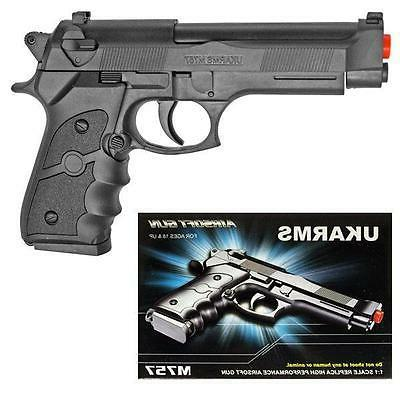 UKArms M757B Black Spring Powered Airsoft Pistol Hand Gun Be