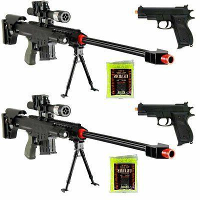 Marksman Tactical Airsoft Sniper Rifle M83A1 Gun & M77B Pis