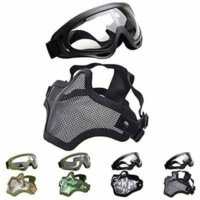 OUTGEEK Airsoft Half Face Mask Steel Mesh and Goggles Set ,