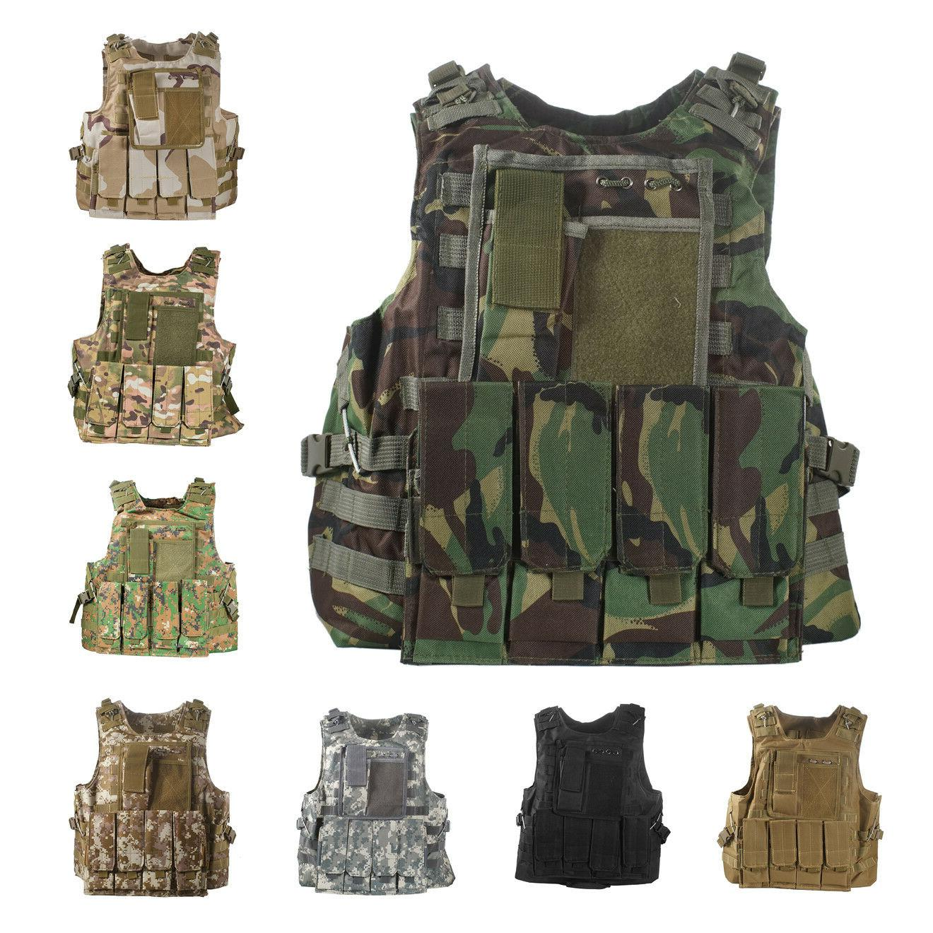 tactical airsoft paintball molle plate carrier combat