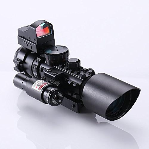IRON 3-10X42 Rifle Scope w Laser Holographic Green Dot