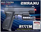 "New UK ARMS 6"" Black Airsoft Pistol Handgun Gun w Laser +200"