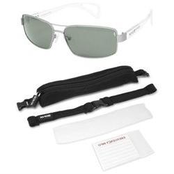 Zoinx Men Wrap Polarize Sunglasses Silver Aviator-Green Lens