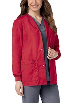 Landau Women's Crew Neck Warm-Up Solid Scrub Jacket Medium T