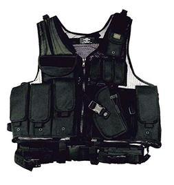 Left Handed Black Tactical Vest Lefty Holster SWAT Paintball