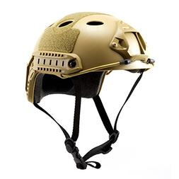 Tactical Crusader Lightweight Tactical Helmet, Tan, Fully Ad