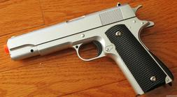 M1911 Replica Handgun Full Metal Silver Airsoft Pistol with
