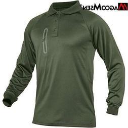 MAGCOMSEN Men Polo Shirt Performance Tactical Long Sleeve Qu