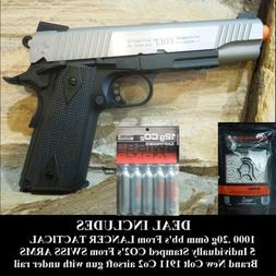Colt Full Metal Rail Gun 1911 stainless/black Blowback Airso