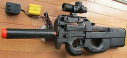 P90 Style Electric Airsoft Gun w/Red Dot Scope, BB Target, S