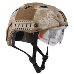 ATAirsoft PJ Type Tactical Fast Helmet w/ Protective Goggles