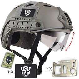 ATAIRSOFT PJ Type Tactical Fast Helmet with Visor Goggles Lo