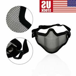 Protective Steel Mesh Half Face Mask For Paintball Airsoft G