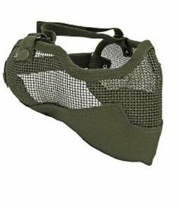 Tactical Crusader Olive 3G Airsoft Steel Mesh Lower Face Mas